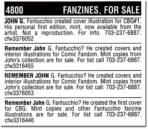 CBG 1659 Classified ads by John Fantucchio!